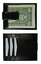 New Grain Leather Strong Metal Money Clip Credit card Front Pocket Wallet black