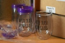 """""""White Trash wine glass"""" Stemless Plastic With Sealing Lid & straw Brand New"""