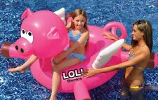 """Swimline LOL 54"""" Giant Flying Pig Inflatable Ride On Pool Fun Float swimming"""