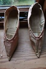 Extremely rare antique late 18th Century pink silk shoes with original ties