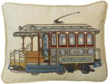 "17"" x 21"" Handmade Wool Needlepoint Petit Point San Francisco Cable Car Pillow"