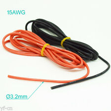 50 Meter 15AWG Flexible Soft Silicone Wire Tin Copper RC Electronic Cable 2Color