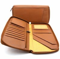 Bifold Tan Genuine Leather Large Travel Passport Zip-Around Wallet