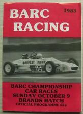 BRANDS HATCH 9 Oct 1983 BARC CHAMPIONSHIP CAR RACES A4 Official Programme