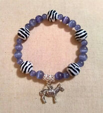 Periwinkle & Zebra Bracelet w/ Zebra Charm - Pulmonary Hypertertion Awareness