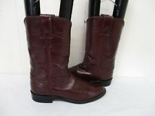 JUSTIN Burgundy Leather Roper Cowboy Boots Size 6 B Style L3068 USA