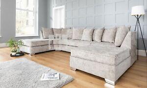 Luxury U Shape Corner Sofa | Chenille Silver Fox | SALE - RRP £1200!!