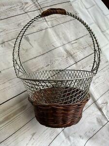 Silver Wicker Woven Mesh Home Decor Plant Flower Pot Planter Hanging Basket Bin