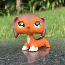 LPS #675 Littlest Pet Shop Green Eyes Brown Savanah Dachshund Dog Kids Toys