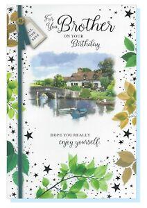"Brother Happy Birthday Card - Outdoor Scene Men Male  - SIMON ELVIN LARGE 9""x6"""