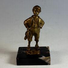 German Antique Bronze Sculpture Boy w Boots Marble Base c1890 Schmidt-Felling