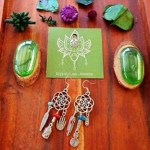 Seed of Life 'Journey' Earrings Sterling Silver  Hooks Crystal Gemstone Charms