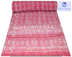 Indian Embroidery Kantha Quilt Bedspread Block Throw Cotton Pink