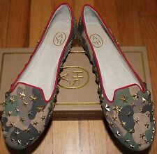 $195 ASH MILITARY/ RED LEATHER BALLET FLATS SZ 40M/ 9.5 US