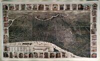 "Hi-Q XL-Format ""3D"" Burke & McFetridge 1886 Map of Philadelphia Facsimile Poster"