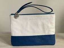 JIGSAW BLUE AND WHITE LEATHER MAKE-UP BAG CLUTCH POUCH WRISTLET PURSE