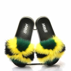 Women Fur Slippers Slides Open Toe Real Fox Fur Slippers Girls Fluffy Slip