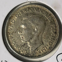 1943 Australia 1 Florin King George VI Silver Coin