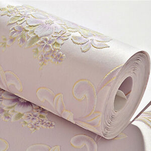 Self-adhesive Embossed Textured Floral Non-woven Wallpaper Wall Art Sticker Home