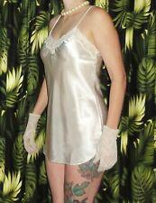 White Cacique Nightgown M lace trim nightie sleepwear pinup pajamas retro