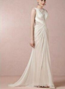 Tadashi Shoji BHLDN Leyna Bridal Wedding Dress SZ 6 Lace Nude Sheath Train Silk