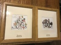 Norman Rockwell Pictures Cow Horse Wagon Salesman Lot Of 2