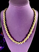 """LOVELY 1970'S TRIFARI GOLD-TONE FAUX SEED PEARL TWISTED ROPE STYLE 30"""" NECKLACE"""