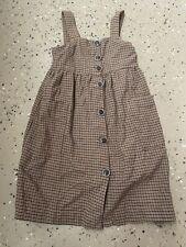 Zara Kids Girls Houndstooth Boho Beige Brown Button Down Dress Size 6