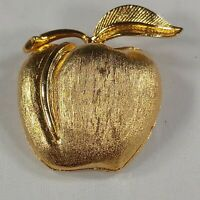Apple Brooch Textured Gold Tone Pin Fashion Jewelry Career Casual Fruit Teacher