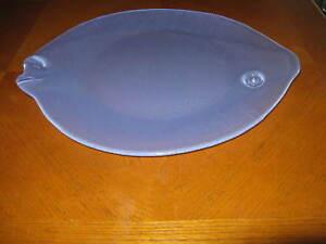 Large Art Glass Fish Platter Plate Server Blue Glass