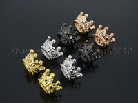 Zircon Gemstones Pave Queen Crown Big Hole Bracelet Connector Charm Beads