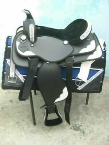 Western Saddle Synthetic Silver Paches Black Free With Attractive Accessories