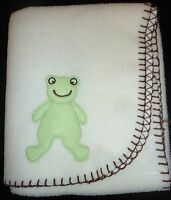 VGUC Blankets and Beyond Cream Off-White Fleece Blanket w/ Frog Brown Stitching