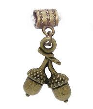 Acorn Camping Woods Forest Plant Bronze Dangle Charm for European Bead Bracelets