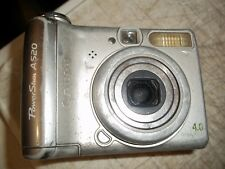 VNTG CANON POWER SHOT A520 DIGITAL CAMERA 4 MEGA PIXEL WORKS SILVER SEE PICTURES