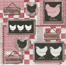 Lot de 4 Serviettes en papier Cuisine Poule pour Decoupage Collage Decopatch