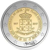 """Pièce 2 euros BELGIQUE 2017 - """"200 ans de l'Université de Liège"""" - UNC"""