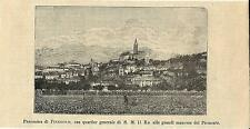 Stampa antica PINEROLO veduta panoramica Torino 1893 Old antique print