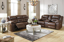 NEW Modern Living Room Furniture Brown Faux Leather Reclining Sofa Couch Set F1S