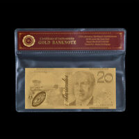 WR Limited Edition 24K Gold Banknote Australia $20 Dollar Paper Money Note +COA