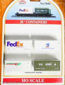 Model Power HO #7850 (FedEx, USPS, CF, U.S. Army) Containers 20' Operating Doors
