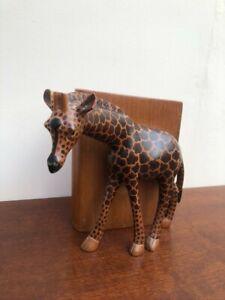 Hand Made Painted Wooden Giraffe Decorative Book End