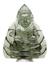 Moldavite BUDDHA Meteorite Impact Glass Gemstone Tektite Buddhist Carving