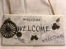 Unusual Handmade Wooden Plaque/Welcome/Bike/Bicycle/Gifts/Xmas