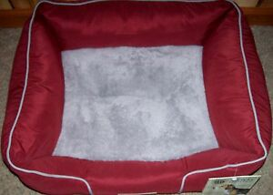 "NWT AKC Rectangular Pet Dog Cat Bed Rust Grey Trim 22 x 18 x 8"" Plush"