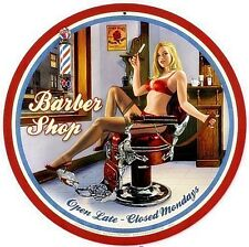 Barber Shop Pin Up Round Steel Sign 360mm diameter (pst)