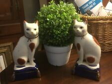 Fitz And Floyd-Staffordshire Type-Pair Of Cats On Blue Base-Crackle Finish-Nice!