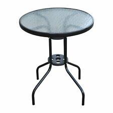 Outsunny  Tavolo Rotondo con Piano in Vetro Temperato Tavolino da Giardino Nero