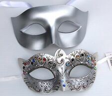 HIS N HERS PAIR OF COUPLES  SILVER VENETIAN MASQUERADE PROM FACE PARTY EYE MASKS