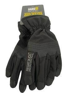 Regatta Mens Gloves Size S/M Softshell Hard Wear Black Elasticated Cuff Warm